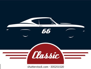 Classic sports muscle car concept vehicle silhouette design