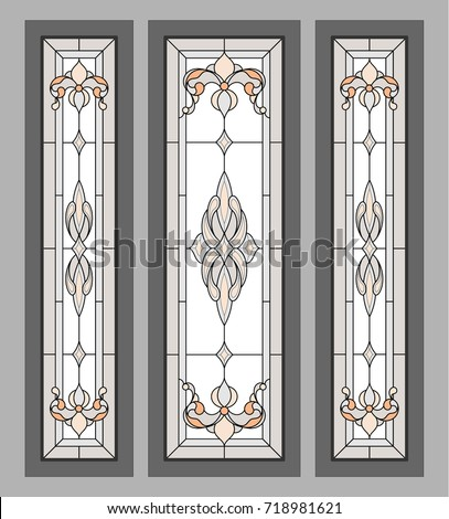 Classic Stained Glass Doors Vector Stock Vector Royalty Free