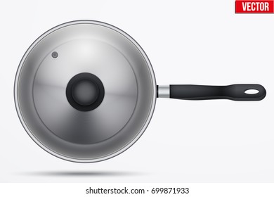Classic stainless steel fry pan with glass lid and handle. Top view and round shape. Kitchen and domestic symbol. Vector Illustration isolated on background.