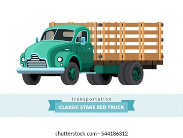 Classic stake bed truck front side view. Vector isolated illustration