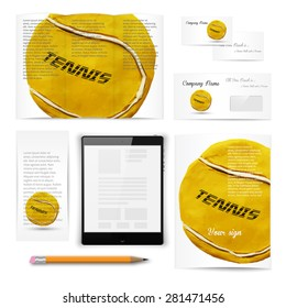 Classic stationery template of brochure, booklet, flyer with tennis ball. Documentation for business. Vector illustration.