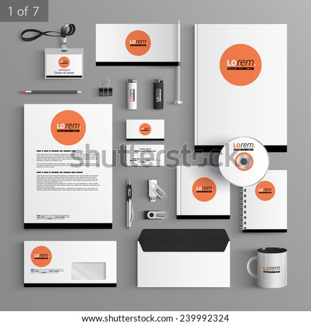 Stationery Template | Classic Stationery Template Design Red Round Stock Vector Royalty