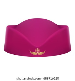 Classic Stewardess Hat Forage Cap Of Air Hostess Uniform Isolated On A White Background. Vector Illustration. Civil Aviation And Air Transport