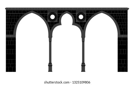 Classic Stone Arch Black & White - Icon Illustration Isolated