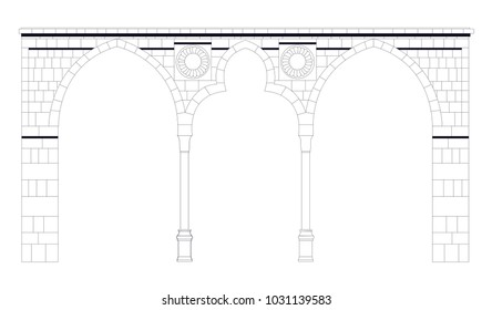 Classic Stone Arch - Isolated Vector Illustration