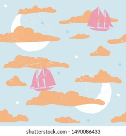 Classic storybook inspired seamless illustrated fantasy pattern.