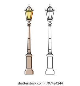 Classic street light pole or standard in flat color line design on isolated background. City lighting lamp - outdoor object in thin linear style.