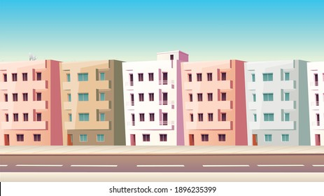 Classic Street With Vector Houses With Balconies