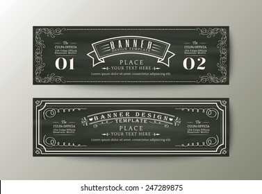 Classic style banner design template with Vintage floral frame on chalk board background