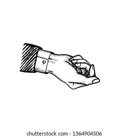 Classic style businessman hand in suit giving gesture holding something bribe or blackmail or holding mock up concept illustration engraved vintage style of vector hand in fist isolated on white