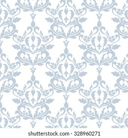 Classic style floral ornament pattern in blue color. Vector