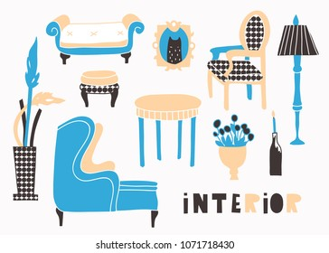 Classic style interior. Hand drawn vector set. All elements are isolated