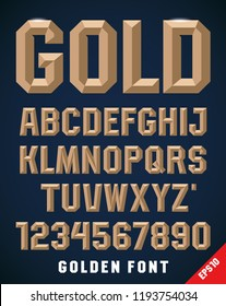 Classic style metallic beveled font, alphabet and numbers. Upper case. Vector illustration.