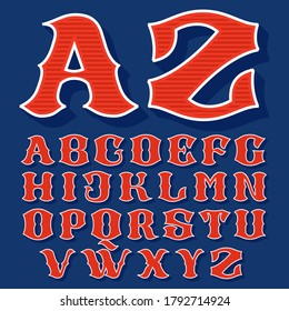 Classic style sport alphabet. Retro font perfect to use in any team labels, baseball logos, college posters, tackle identity, etc.