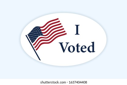 Classic style voting sticker with I voted slogan and us american flag. Circle vote label. US, USA, american election, voting sign. I voted sticker. Responsible voting pin. Vector illustration