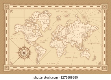 Classic style of world map with compass and ornamental frame in brown monochrome. Old world map vector in vintage style.