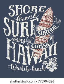 e92b4fe55 Classic surfing Hawaii, vintage vector print for t shirt grunge effect in  separate layer