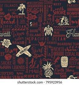 Classic surfing Hawaiian islands wallpaper, vector seamless pattern for fabric  wrapping cover or  background