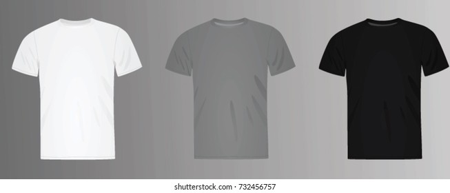 Classic t shirt. white, grey and black. vector illustration