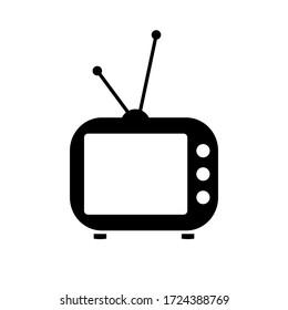Classic Television Icon Image. Black TV Vector