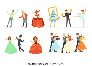 Classic Theater And Artistic Theatrical Performances Series Of Illustrations With Opera, Ballet And Drama Performers On Stage
