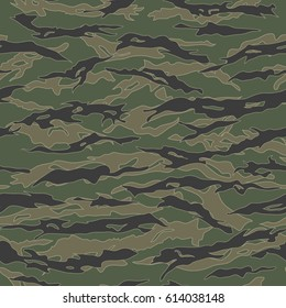 Classic Tiger stripe Camouflage seamless patterns. Vector Illustration.