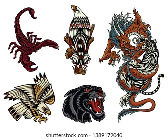 Classic Traditional Animal Tattoos Pack