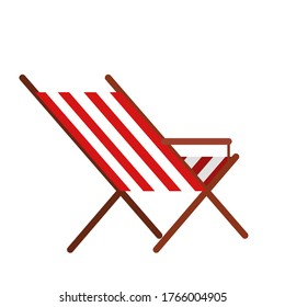 Classic traditional beach chair with red and white stripes.