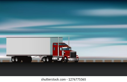 Classic truck rides on the highway, big rig semi truck with dry van on the road, vector illustration