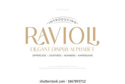 Classic typography elegant. Lettering minimal fashion designs. Alphabet uppercase, ampersand, ligatures. Vector illustration word. - Shutterstock ID 1867893712