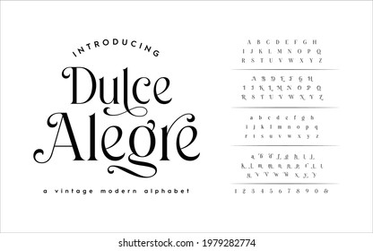 Classic Typography Minimal Fashion Designs. Typeface modern serif fonts and numbers. Elegant stylish alphabet letters font, ligatures, and number.  - Shutterstock ID 1979282774