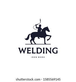 Classic unique welding logo icon sign. Vector illustration of the welder rides the horse. isolated on white background