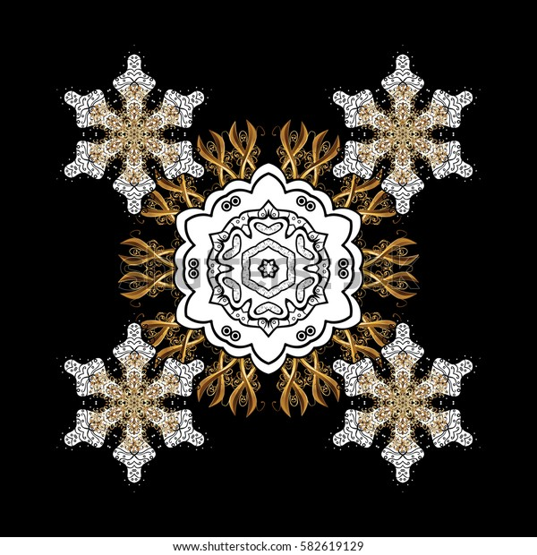 Classic vector black and golden pattern. Traditional orient ornament with white doodles. Classic vintage background.