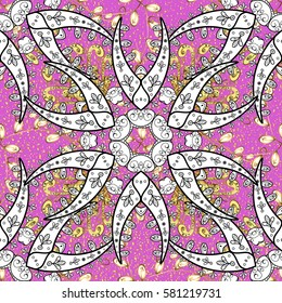 Classic vector golden. Floral ornament brocade textile pattern, glass, metal with floral pattern on pink background with golden elements.