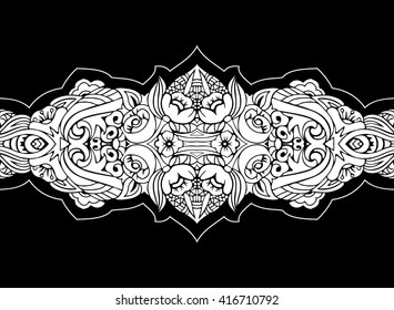 Classic vector seamless border. Zentangle style. Floral design. Aztec art. Indian pattern