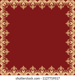 Classic vector square frame with arabesques and orient elements. Abstract red and golden ornament with place for text. Vintage pattern