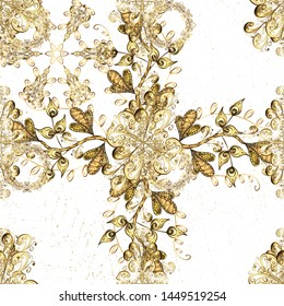 Classic vector white and beige and golden pattern. Traditional orient ornament. Classic vintage background.