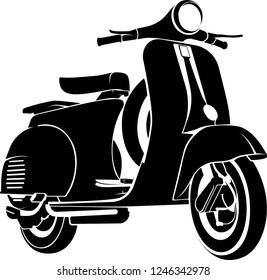 Classic Vespa Scooter Vector Monochrome Design Illustration