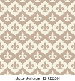 Classic victorian background with stylized fleur-de-lis. Seamless vector pattern. French royal style. Calm pastel undertones. Classic decorative ornament.