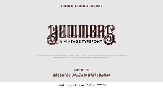 Classic and vintage alphabet typography. Vector illustration font set. Timeless typeface.