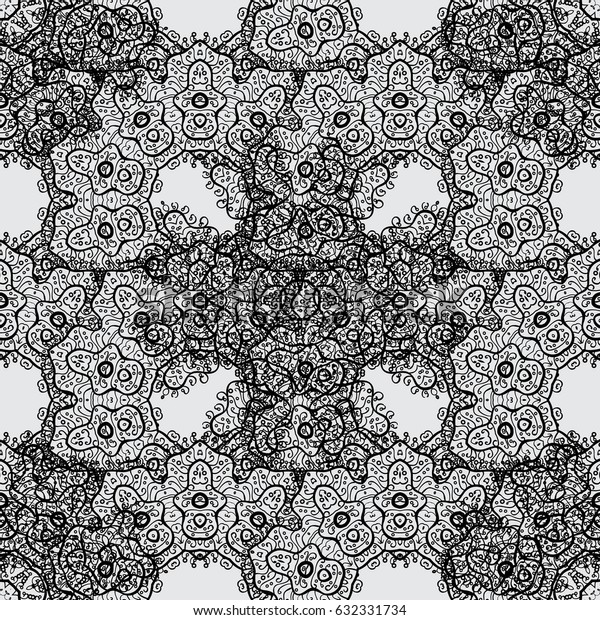 Classic vintage background. Dim pattern on gray background with dim elements. Seamless classic vector dim pattern. Traditional orient ornament.