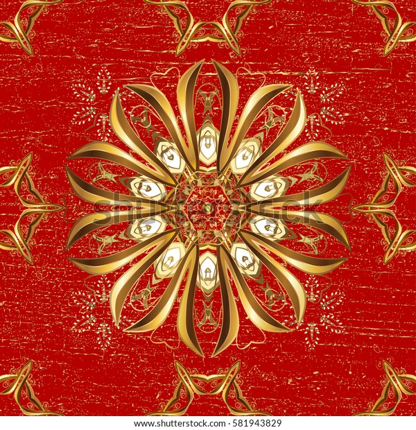 Classic vintage background. Classic vector red and golden pattern. Traditional orient ornament.