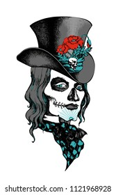 Classic Vintage character Day of the Dead, hallowen makeup, tatto-drsign, t-shirt drsign