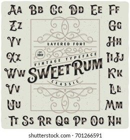 """Classic vintage decorative font set named """"Sweet Rum"""" with label design template"""