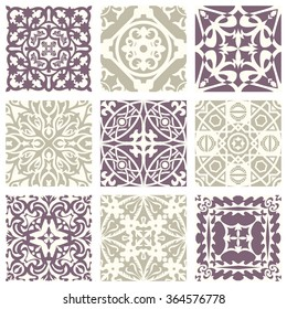 Classic vintage elegant pastel violet seamless abstract pattern 11 Antique retro abstract pattern set collection can be used for wallpaper, web page background, surface textures.