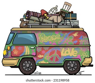 Classic vintage hippie van, bus, painted, with luggage on top vector illustration