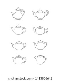 Classic, vintage and modern teapots icons