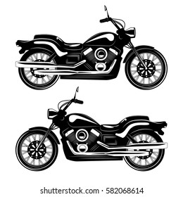 Classic vintage motorcycle isolated on white background. Monochrome style. Vector illustration.
