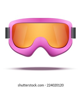 Classic vintage old school pink snowboard ski goggles with colorful glass. Vector isolated on white background