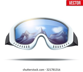 Classic vintage old school ski goggles with glass reflecting the winter mountains. Vector isolated on white background